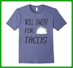 """Mens Funny """"Will Sweat For Tacos"""" Workout  Tee Large Heather Blue - Workout shirts (*Amazon Partner-Link)"""