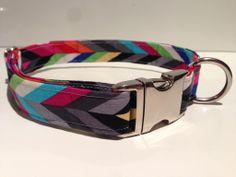 Retro Chevron Handmade Dog Collar by Daft Paws