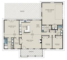 Ranch style house plans are typically single-story homes with rambling layouts. Open floor plans are characteristic of the Ranch house designs offered at . Country House Plans, Dream House Plans, Small House Plans, House Floor Plans, My Dream Home, Dream Houses, 3 Bedroom Home Floor Plans, Simple Ranch House Plans, Open Concept House Plans