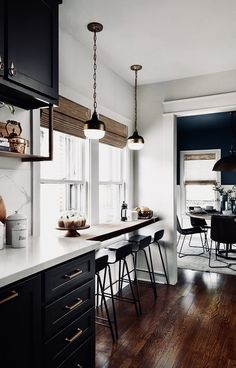 Great use of space with a breakfast spot in front of the window.