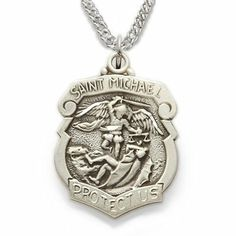 """Sterling Silver 3/4"""" Shield Engraved St. Michael Medal on 20"""" Chain TrueFaithJewelry. $59.95"""