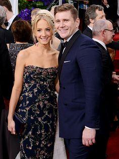 Joanne Froggatt and Allen Leech attend the 72nd Annual Golden Globe Awards.