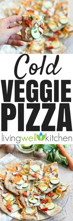 Cold Veggie Pizza from @memeinge with a cream cheese base covered in sliced veggie for a tasty appetizer or lunch. Great vegetarian recipe for a crowd