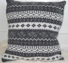 Grey and White Pattern Pillow from Upcycled Sweater by Lillsknits
