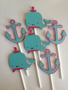 Set Of 12 Anchor and Whale Cupcake Toppers Aqua, Hot Pink,Nautical Bithday,Nautical Baby,Anchors,Helm,Life Preserver