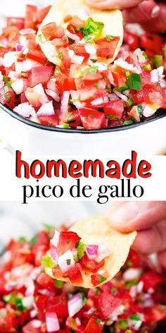 Guacamole Recipe Discover Homemade Pico de Gallo This classic and authentic Pico de Gallo is the best fresh tomato salsa that you can make. 5 ingredients is all you need and its great on a variety of dishes or just scooped with chips! Best Salsa Recipe, Tomato Salsa Recipe, Fresh Tomato Recipes, Fresh Tomato Salsa, Fresh Pico Recipe, Fresh Chunky Salsa Recipe, Classic Tomato Salsa, Authentic Salsa Recipe, Salsa Guacamole