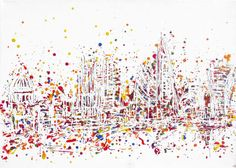 """""""LONDON'S BURSTING"""" Original, contemporary cityscape painting on canvas, created with textured acrylic paints. Featuring famous London landmarks St Paul's Cathedral, the Cheesegrater, the Walkie Talkie, the Oxo Tower and the Gherkin. #londoncolour #vibrant #londoncityscape #londonart #multicolour #white #whitepainting #whiteart #coloursplash #londonpainting #viewfromwaterloobridge http://www.hannahvanbergen.co.uk/cityscapes/534130_londons-bursting.html"""