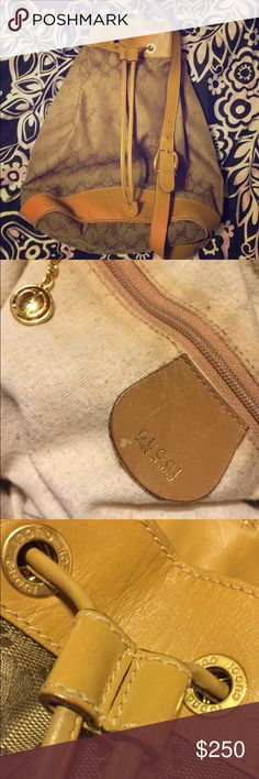 Vintage Gucci off the shoulder style drawstring Vintage Gucci one shoulder drawstring bag, silhouette is in good condition, lining has been tampered with is in need of a fix But all in all in pretty good condition for a vintage  Gucci Bags Shoulder Bags
