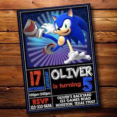 Sonic The Hedgehog Invitation * Sonic The Hedgehog Birthday Invitation * Sonic Invitation * Sonic B Sonic Birthday Parties, Sonic Party, 11th Birthday, Birthday Ideas, Sonic Boom, Hedgehog Birthday, Birthday Party Invitations, Party Themes, Sony