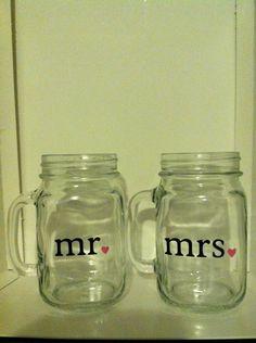 Set of Mr. and Mrs. Drinking Jars (Mason Jars)
