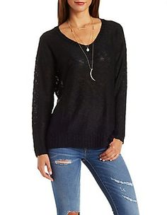 c3bca602b8 Slub Knit Pullover Sweater by Charlotte Russe - Black