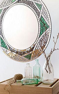 """Forest Star"" mosaic mirror. Art Deco inspired."