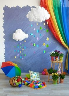 Ideas Photography Props Diy Ideas Pictures For 2020 Rainbow Room, Rainbow Theme, Decoration Creche, Class Decoration, Diy And Crafts, Crafts For Kids, School Decorations, Rainbow Decorations, Birthday Decorations