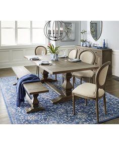 tristan trestle dining furniture, 7-pc. set (trestle dining table, Esstisch ideennn