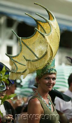 Inside Out Umbrella Hat modelled during Ladies Day at Royal Ascot