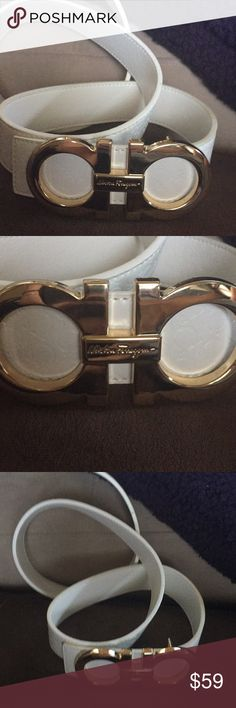 BrAnd MEE ferragamo belt white name brand look Brand new with belt with gold belt buckle Ferragamo Accessories Belts