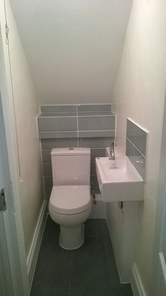 under stairs bathroom under the stairs bathroom ideas under stairs water closet small downstairs bathroom ideas Small Downstairs Toilet, Small Toilet Room, Downstairs Cloakroom, Basement Bathroom, Cloakroom Toilet Downstairs Loo, Small Half Bathrooms, Tiny Bathrooms, Upstairs Bathrooms, Small Bathroom