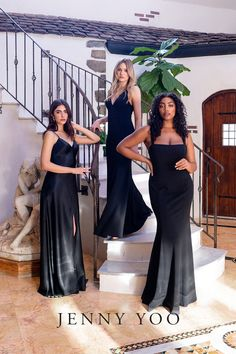 Classically chic and a timeless choice for any season - an all-black bridal party will never go out of style. Black bridesmaid dresses can be mixed and matched with other fabrications such as Satin Back Crepe, Chiffon, and Knit Crepe to create a more modern and moody look. Featuring the Jenny Yoo Jude and Jenner. The sleek square neckline on the Jenner and slim silhouette of the Jude makes these dresses perfect for a guest of wedding or any other formal event. Wedding Looks, Wedding Pics, Summer Wedding, Wedding Styles, Dream Wedding, Wedding Ideas, Black Bridesmaid Dresses, Prom Dresses, Wedding Dresses