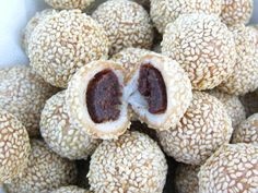 Instructable of Dim Sum sesame balls. It looks like this guy really did his homework! The recipes requires very specific ingredients but it seems worth a try! It also includes an excellent recipe for red bean paste and mincemeat.
