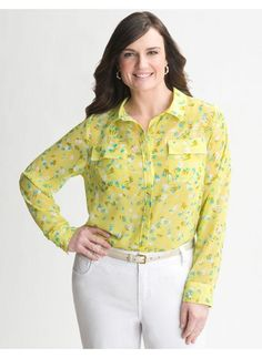 Lane Bryant Sheer print blouse - Women's Plus Size/Sunny lime