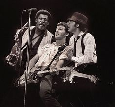 Clarence Clemons, Bruce Springsteen and Little Steven Van Zandt perform in Rotterdam, Netherlands on April 29th, 1981.
