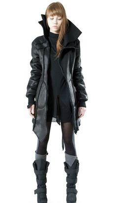 Cyberpunks: clothing uses leather, rubber, pvc, and incorporates technical hardware devices, cables, circuit boards, etc.