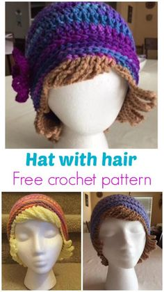 For chemo patients or just for dress-up fun. Free crochet pattern for a hat with woolen hair. hat kids fun Crochet Chemo Hat With Hair Free Hat Pattern - Crochet News Crochet Wig Pattern, Crochet Patterns, Hat Patterns, Mode Crochet, Crochet Cap, Crochet Wigs, Crochet Beard, Crochet Kids Hats, Knitted Hats