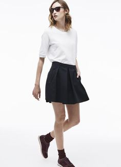 Pleated skirt in wool piqué