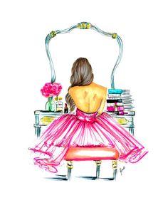 Vanidad grabado de la ilustración de moda