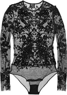 The Flocked Velvet and Silk Tulle Bodysuit - Lyst