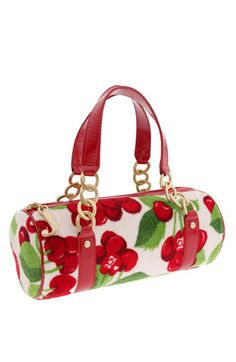 Juicy Couture Cherry Print Roll Bag available at Shared by SPCN. Tote Handbags, Purses And Handbags, Leather Handbags, Leather Bag, Baby Couture, Juicy Couture, Cherry Baby, Cherry Tree, Mary Frances Purses
