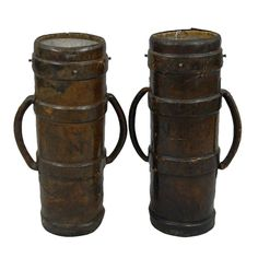 Pair of Antique  English Leather Artillery Buckets, c. 1750-1820
