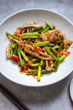 A deliciously simple dish from Jeremy Pang Squid Recipes, Shellfish Recipes, Stir Fry, Asparagus, Green Beans, Shrimp, Fries, Dishes, Vegetables