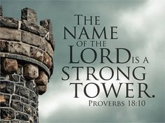 "Proverbs 18:10 ""The name of Jehovah is a strong tower. Into it the righteous one runs and receives protection""."