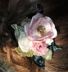 pink white fascinator flower hair clip slide fascinator bride wedding satin grip