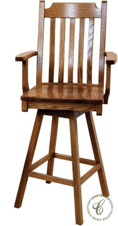 Our San Diego Swivel Bar Height Stool is a Mission style arm chair in your choice of 24 or 36 inch seat heights to fit your bar or kitchen counter.