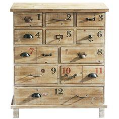 Vintage Industrial Cabinet - Holzkommode in Antikoptik, B 82cm Anatole Anatole