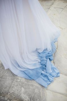 Suzy wore a stunning ombre/dip dye dress for her barefoot beach wedding in New…