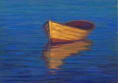 Indigo Hour, Boat Seascape Pastel Painting by Poucher | pastel painting