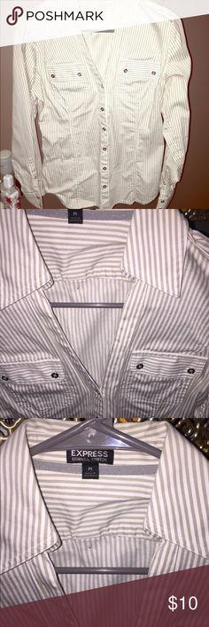 Express Striped Button Up Shirt Express grey and white striped button up work shirt. Size Medium. Express Tops Button Down Shirts