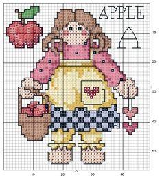 Schemi a punto croce gratuiti per tutti: Schema punto croce : bambolina con le mele