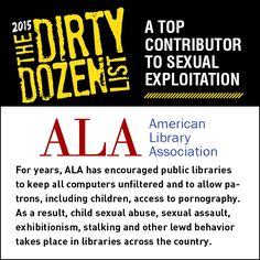 American Library Association is a top contributor to sexual exploitation.   absolutely disturbing!