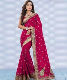 Buy Magenta Faux Georgette Saree With Blouse 75591 with blouse online at lowest…