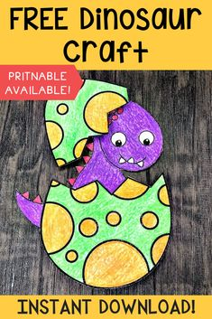 FREE Printable Crafts For Kids FREE Dinosaur printable craft! FREE PDF is included with this dinosaur craft. It's practically mess free. Just grab some scissors, glue, and crayons and you're good to go! Dinosaur Crafts Kids, Dino Craft, Dinosaur Projects, Easy Preschool Crafts, Dinosaur Printables, Dinosaurs Preschool, Dinosaur Activities, Free Preschool, Toddler Crafts
