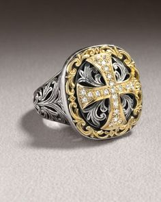 "KonstantinoDiamond Cross Ring $1495 • 18-karat yellow gold and sterling silver cross and acanthus leaf design. • Round-cut diamonds; 0.31 total carat weight. • 7/8""H x 7/8""W. • Made in Greece."