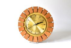 Vintage clock brass GDR teak East German wall clock starburst sunburst Weimar electronics Mid-Century 60s
