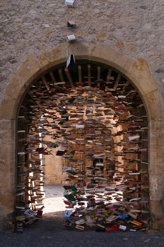 A doorway of books