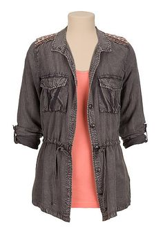 Maurices Premium embroidered shoulder button front shirt (original price, $49) available at #Maurices