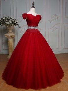 Off-the-Shoulder Ball Gown Beading Pleats Floor-Length Quinceanera Dress