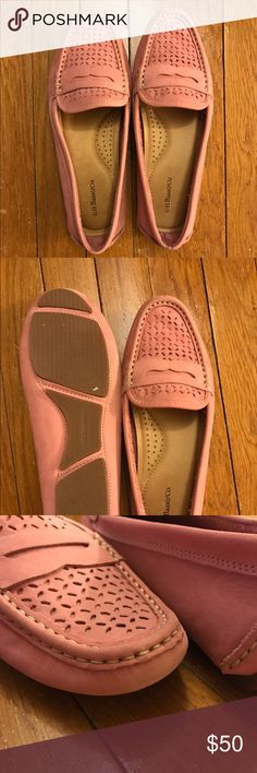 GH Bass Pink Suede Loafers Adorable pink suede loafers- worn once!! Minimal wear around the toe of the shoe (pictured above) Bass Shoes Flats & Loafers